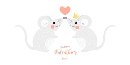Love concept. Mouse with heart in cartoon style. Funny cartoon character. Greeting Valentines day card vector. 일러스트