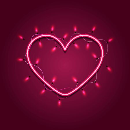 Valentines heart-shaped wreath made of led lights