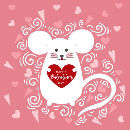 Love concept. Mouse with heart in cartoon style. Cute mouse in love. Vector cartoon style romantic. Valentines Day Vector Card. Vector illustration for t-shirt prints, greeting cards, posters, sticke