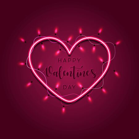 Valentine`s day background with bright lights. Modern calligraphy for Valentines Day. Valentines Day card with Glowing lights heart.