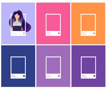 Social network photo frame vector illustration. Avatar profile picture. Woman avatar, face icon. Cartoon style.