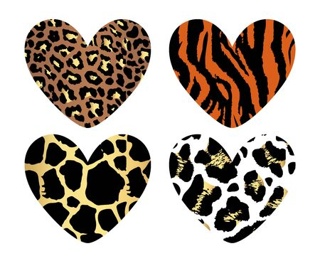 Gold hearts with leopard print texture pattern. Happy Valentine's Day. Template for Valentines day and greeting card backgrounds. For web and print, wallpaper, cards, flyers, invitation, posters