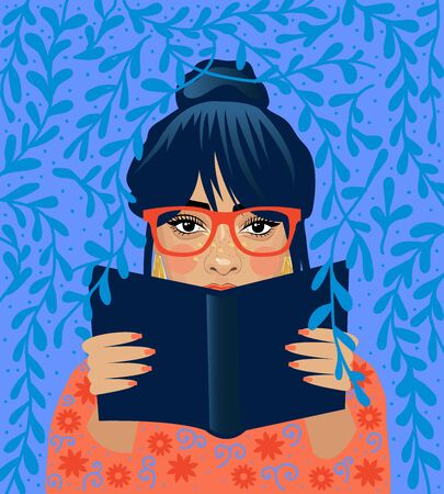Literature fan. Girl who love to Read. Reading Books concept. Flat cartoon vector illustration.
