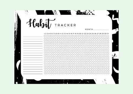 Habit Tracker. Monthly planner habit tracker blank template. Monthly planer. Vektoros illusztráció