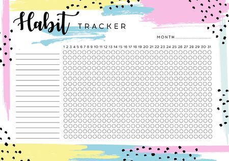 Habit Tracker. Monthly planner habit tracker blank template. Monthly planer. Vector illustration. Ilustración de vector
