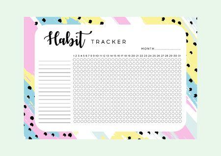 Habit Tracker. Monthly planner habit tracker blank template. Monthly planer. Vector illustration.