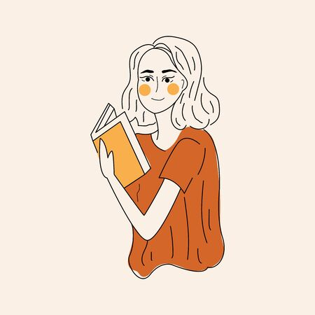 Literature fan. Girl studying with some books. Young student girl. Education and learning concept. Beautiful girl with book. Girl who love to Read. Reading Books concept. Flat cartoon vector illustration. Vettoriali