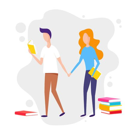 Literature fans. People who love to Read. Reading Books concept. Flat cartoon vector illustration.