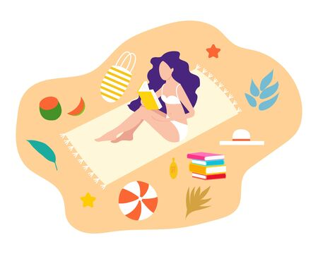 Literature fan. Girl studying with some books. Young student girl on the beach. Education and learning concept. Beautiful girl with book. Girl who love to Read. Reading Books concept. Flat cartoon vector illustration. Vettoriali