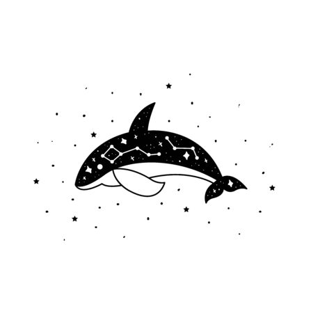 Mystical whale with moon and stars. Stars, constellations, moon. Hand drawn astrology symbol. For print for T-shirts and bags, decor element. Mystical and magical, astrology illustration
