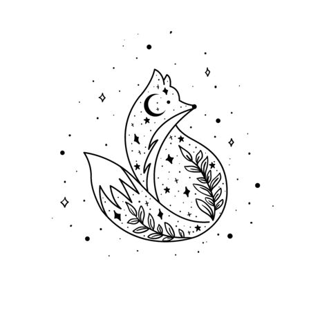 Mystical fox with moon and stars. Stars, constellations, moon. Hand drawn astrology symbol. For print for T-shirts and bags, decor element. Mystical and magical, astrology illustration