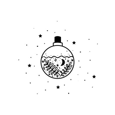 Mystical poison with moon and stars. Stars, constellations, moon. Hand drawn astrology symbol. For print for T-shirts and bags, decor element. Mystical and magical, astrology illustration