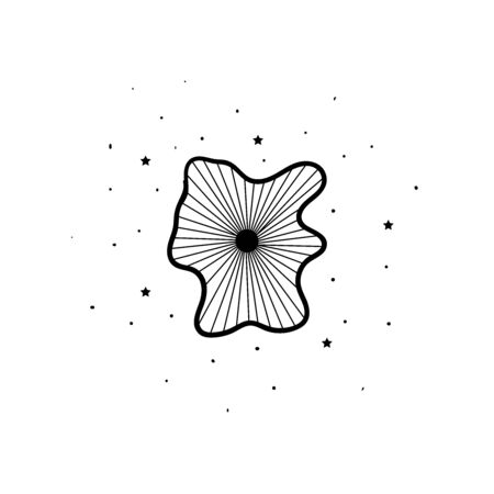 Mystical flowers with stars. Hand drawn astrology symbol. For print for T-shirts and bags, decor element. Mystical and magical, astrology illustration Illustration