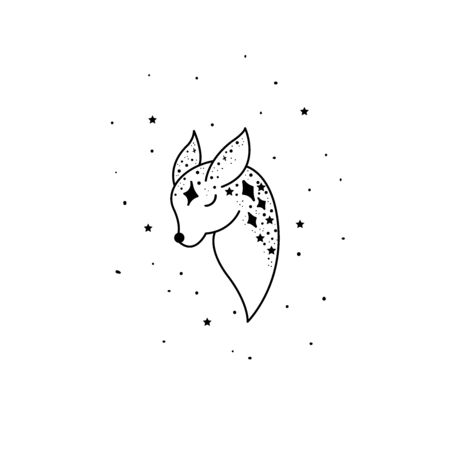 Mystical deer with moon and stars. Stars, constellations, moon. Hand drawn astrology symbol. For print for T-shirts and bags, decor element. Mystical and magical, astrology illustration