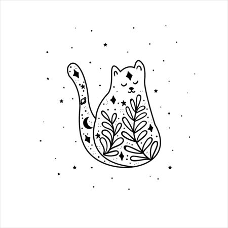 Mystical cat with moon and stars. Tattoo art style. Stars, constellations, moon. Hand drawn astrology symbol. For print for T-shirts and bags, decor element. Mystical and magical, astrology illustration Illustration