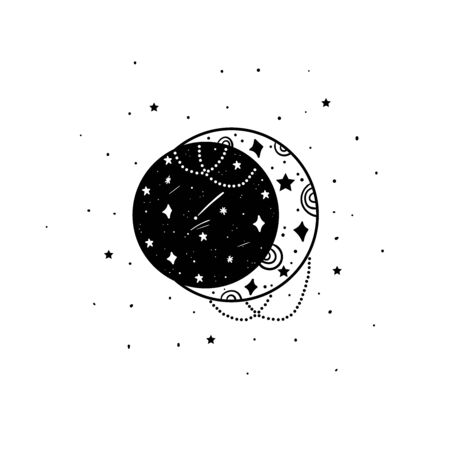 Mystical moon and stars. Stars, constellations, moon. Hand drawn astrology symbol. For print for T-shirts and bags, decor element. Mystical and magical, astrology illustration Illustration