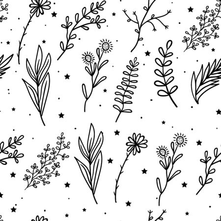Seamless Pattern Mystical flowers and branches and leaves with stars. Mystic, alchemy, occult concept. Illustration