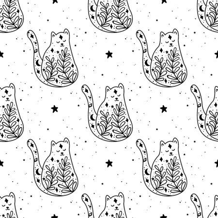 Seamless Pattern Black witch cat. Mystical animal. Mystical illustration, religion and symbolism in the tattoo.