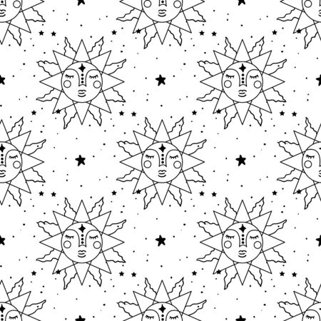 Seamless Pattern Mystical planet with stars and moon. Stars, constellations, moon, crystals. Illustration