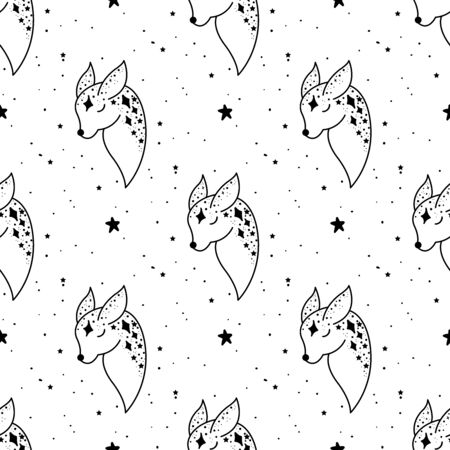 Seamless Pattern Mystical deer with moon and stars. Stars, constellations, moon. Illustration