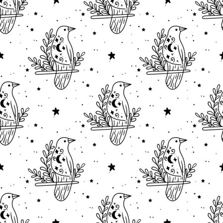Seamless Pattern Mystical raven with moon and stars. Stars, constellations, moon.