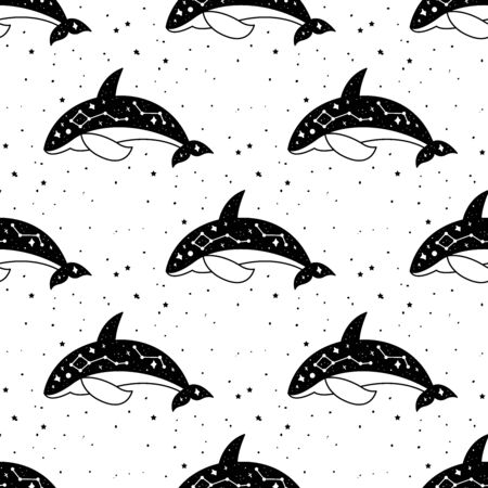 Seamless Pattern Mystical whale with moon and stars. Stars, constellations, moon.