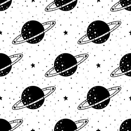Seamless Pattern Mystical planet with stars and moon. Stars, constellations, moon. Hand drawn astrology symbol. For print for T-shirts and bags, decor element. Mystical and magical Illustration
