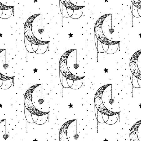 Seamless Pattern Mystical moon with stars. Stars, constellations, moon, crystals. Hand drawn astrology symbol. For print for T-shirts and bags, decor element. Mystical and magical