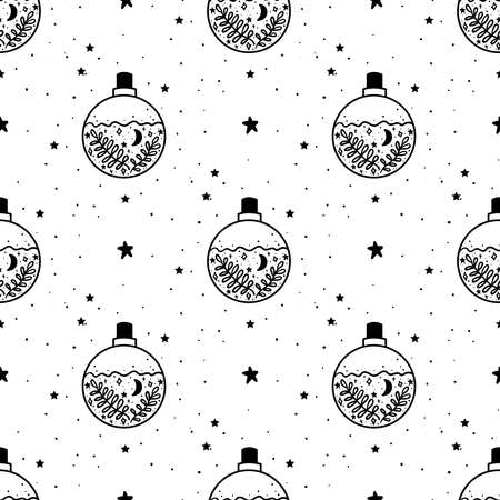 Seamless Pattern Mystical poison with moon and stars. Stars, constellations, moon. Hand drawn astrology symbol. For print for T-shirts and bags, decor element. Mystical and magical Illustration