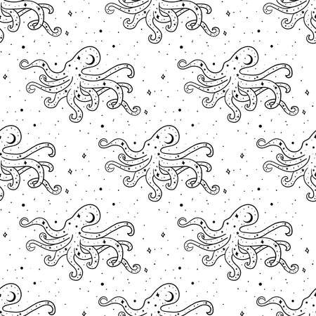 Seamless Pattern Mystical octopus with moon and stars. Stars, constellations, moon. Hand drawn astrology symbol. For print for T-shirts and bags, decor element. Mystical and magical, astrology illustration