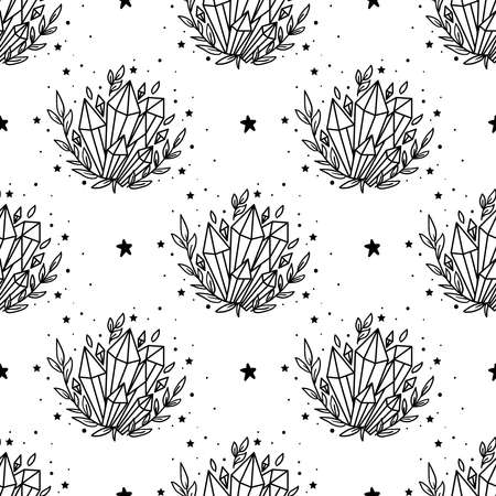 Seamless Pattern Mystical moon with crystal and stars. Stars, constellations, moon, crystals. Hand drawn astrology symbol. For print for T-shirts and bags, decor element. Mystical and magical
