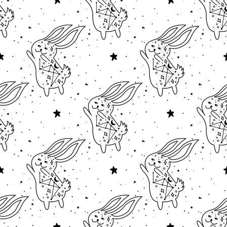 Seamless Pattern Mystical rabbit with moon and stars. Rabbit animal magic drawing line. Can be used as easter greeting card, phone case, tattoo, coloring book illustration. Illustration