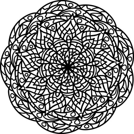 Mandala coloring page for kids and adults. Vector illustration. Relax black and white ornament. Meditative drawing coloring book. Kaleidoscope template for design work. Vektorové ilustrace
