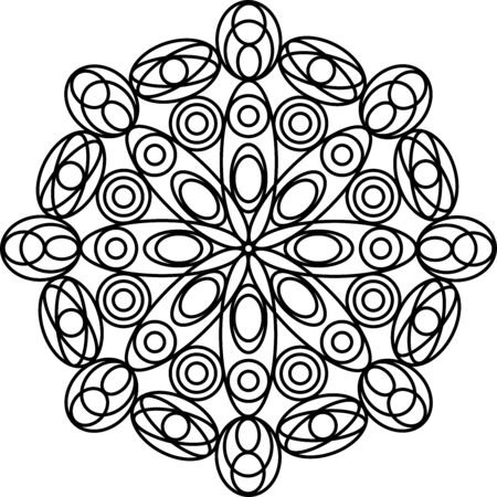 Simple geometric mandala coloring page for kids and adults. Vector illustration. Relax black and white ornament. Meditative drawing coloring book. Kaleidoscope template for design work.