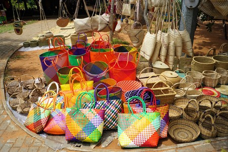 african traditional souvenir market in Maputo Mozambique