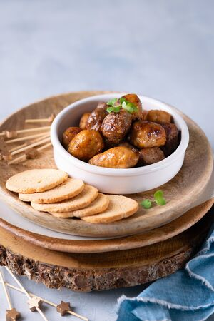 Mini chicken and veal kebabs starters snacks, skewers on light background with copy space, finger foods concept.