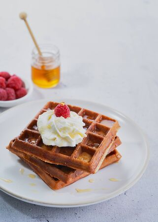 Homemade waffles with honey, raspberry, peaches in syrup in plate on grey surface. Healthy breakfast, brunch concept, selective focus. Copy Space.