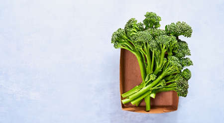 Banner with Raw fresh broccolini, fresh organic broccoli florets in paper box for storing food Plastic-free packaging, zero west concept. Light blue background, copy space.