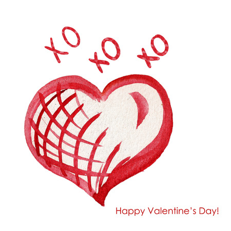 Valentines Day Greeting Card with Watercolor red heart and love text - XOXOXO. Happy ValentinesDay Standard-Bild