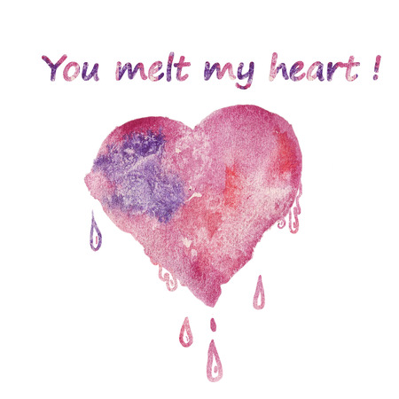 thaw: Valentines Day Greeting Card with Watercolor pink-purple heart and cute text - you melt my heart