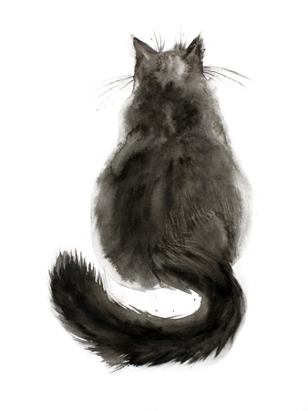 backview: Watercolor painting of black fluffy cat. Back view. Hand drawn ink art