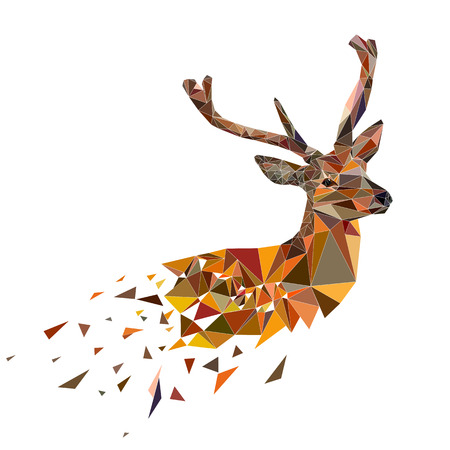 Multicolor deer head with horns. Vector illustration in polygonal style. Vettoriali