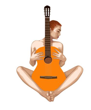 Belle fille nue avec une guitare sur un fond blanc. Dessin vectoriel