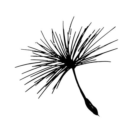 Dandelion seed pencil sketch. Vector floral logo Stock Illustratie