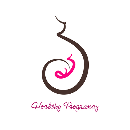 Vector logo of pregnancy. Health and care of motherhood concept