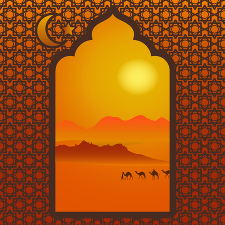 sand dunes: Landscape with the Arabian desert, camelcade, and hot sun outside the carved window. Vector illustration. Muslim background