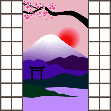 torii: Japanese window. Landscape with Mount Fuji, torii, cherry blossoms and sunrise outside the japanese window. Vector illustration Illustration