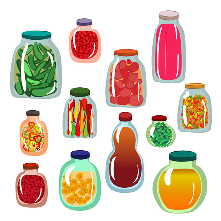Collection of icons of pickled vegetables in glass jars. Vector illustration. Isolated elements set in cartoon style. Ilustração