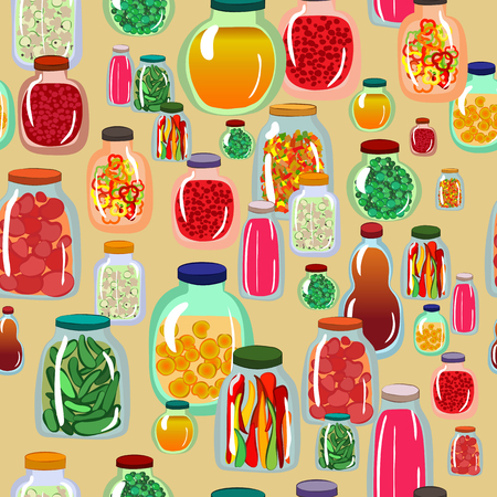 Pattern with pickled vegetables and fruits in glass jars