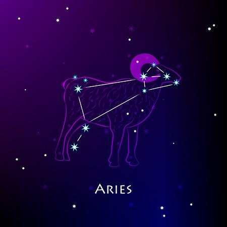 Aries Sign and the Constellation against a dark starry sky Ilustração